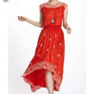 Anthropologie Floreat Orange Embroidered Dress 2